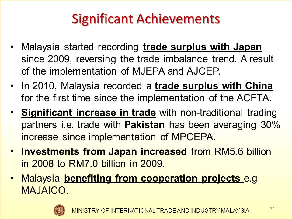 MINISTRY OF INTERNATIONAL TRADE AND INDUSTRY MALAYSIA Significant Achievements Malaysia started recording trade surplus with Japan since 2009, reversi