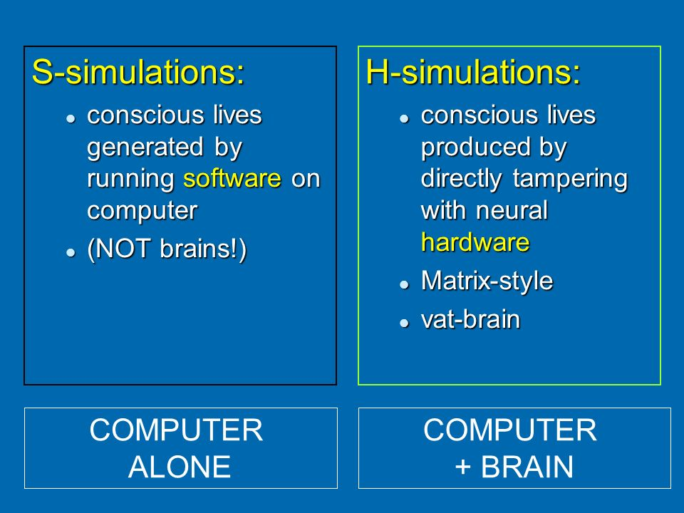 S-simulations: conscious lives generated by running software on computer conscious lives generated by running software on computer (NOT brains!) (NOT