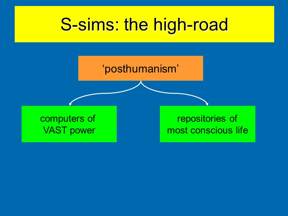 S-sims: the high-road posthumanism computers of VAST power repositories of most conscious life