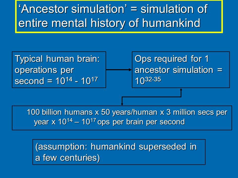 100 billion humans x 50 years/human x 3 million secs per year x 10 14 – 10 17 ops per brain per second Ancestor simulation = simulation of entire ment
