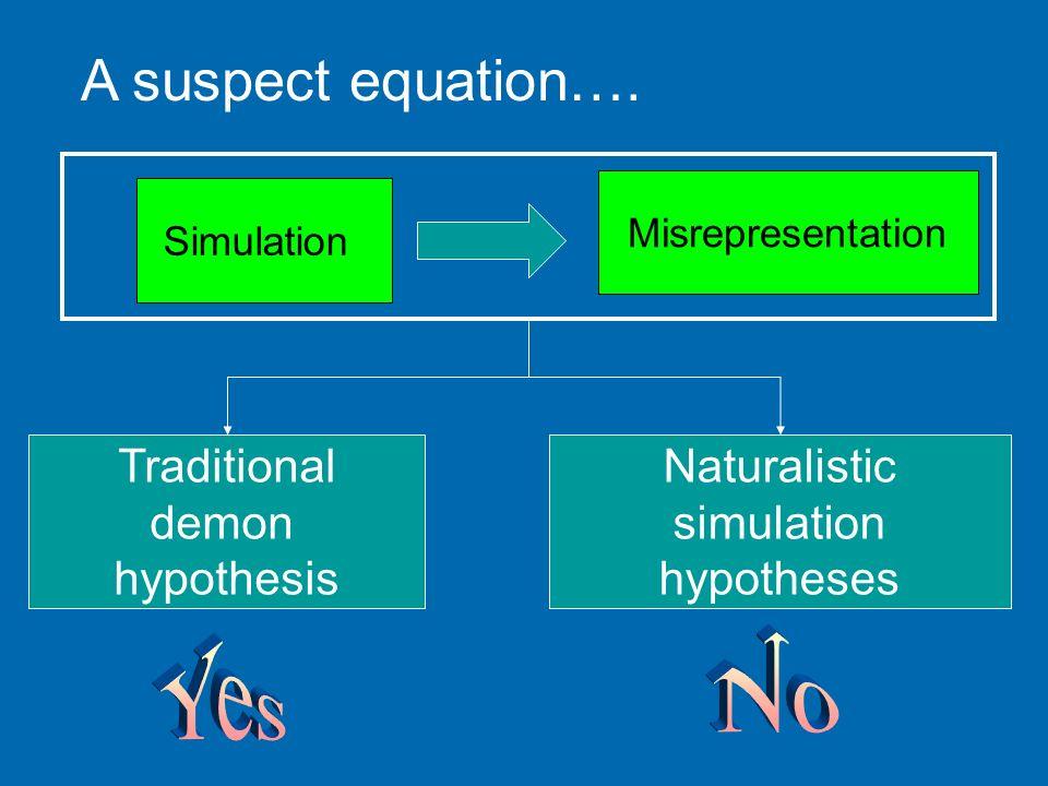Simulation Misrepresentation A suspect equation…. Traditional demon hypothesis Naturalistic simulation hypotheses