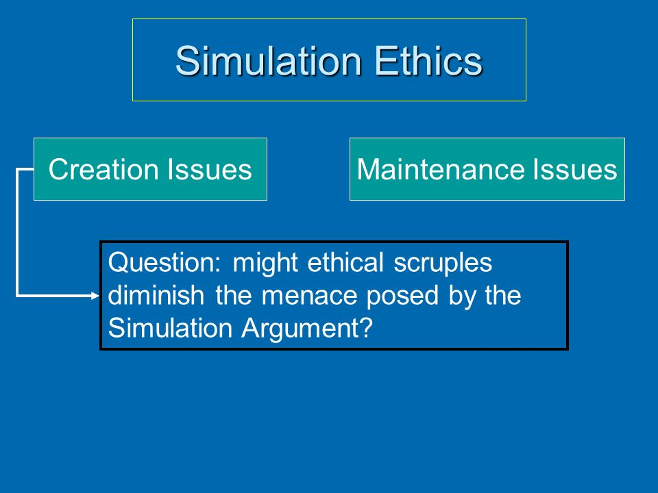 Simulation Ethics Creation IssuesMaintenance Issues Question: might ethical scruples diminish the menace posed by the Simulation Argument?