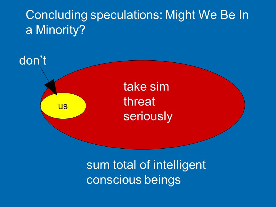 sum total of intelligent conscious beings us take sim threat seriously dont Concluding speculations: Might We Be In a Minority?