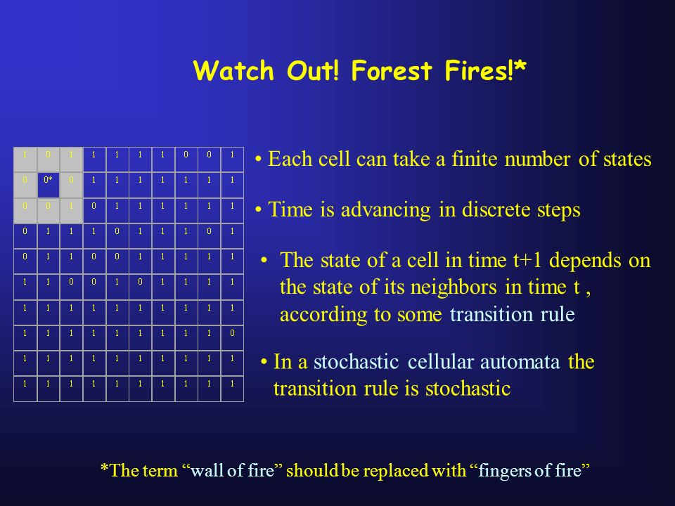 Watch Out! Forest Fires!* Each cell can take a finite number of states The state of a cell in time t+1 depends on the state of its neighbors in time t