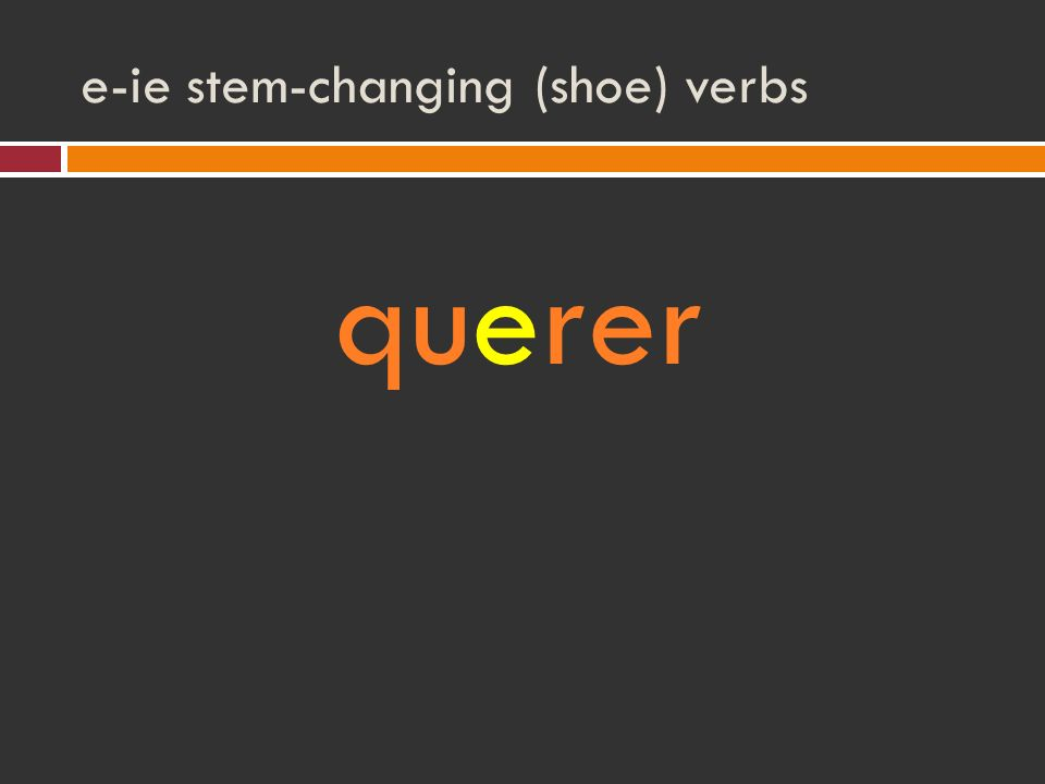 e-ie stem-changing (shoe) verbs querer