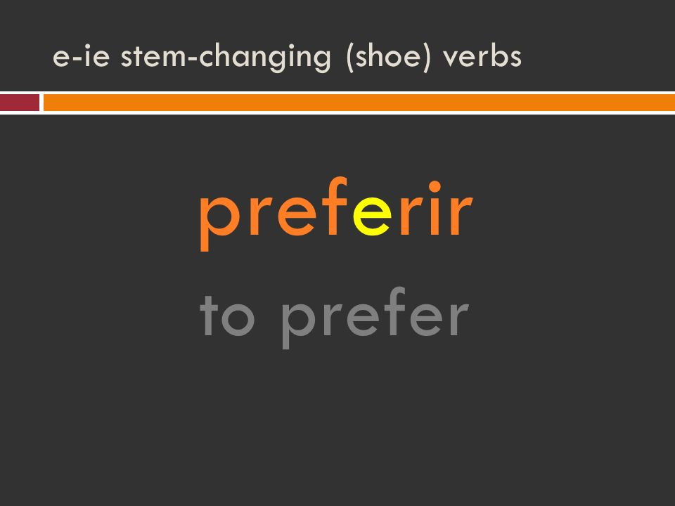 e-ie stem-changing (shoe) verbs preferir to prefer
