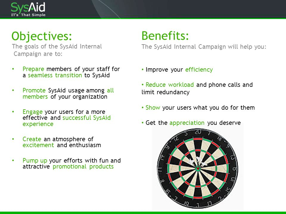 Objectives: The goals of the SysAid Internal Campaign are to: Prepare members of your staff for a seamless transition to SysAid Promote SysAid usage a