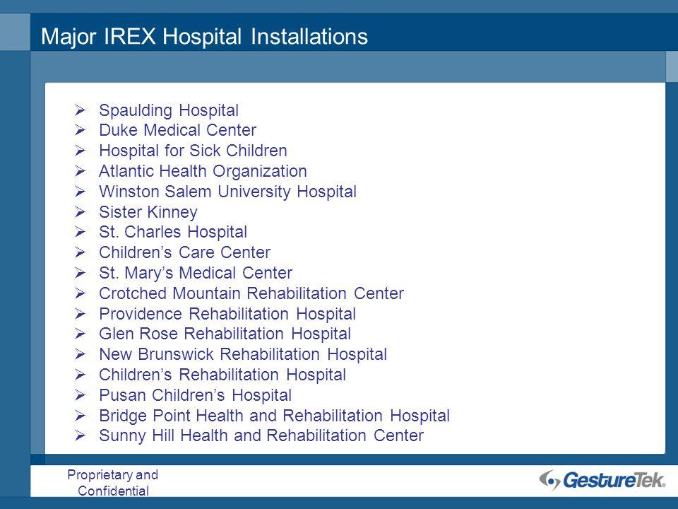 Proprietary and Confidential Major IREX Hospital Installations Spaulding Hospital Duke Medical Center Hospital for Sick Children Atlantic Health Organ