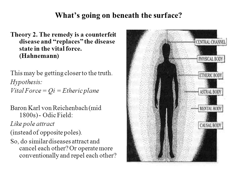 Whats going on beneath the surface? Theory 2. The remedy is a counterfeit disease and replaces the disease state in the vital force. (Hahnemann) This