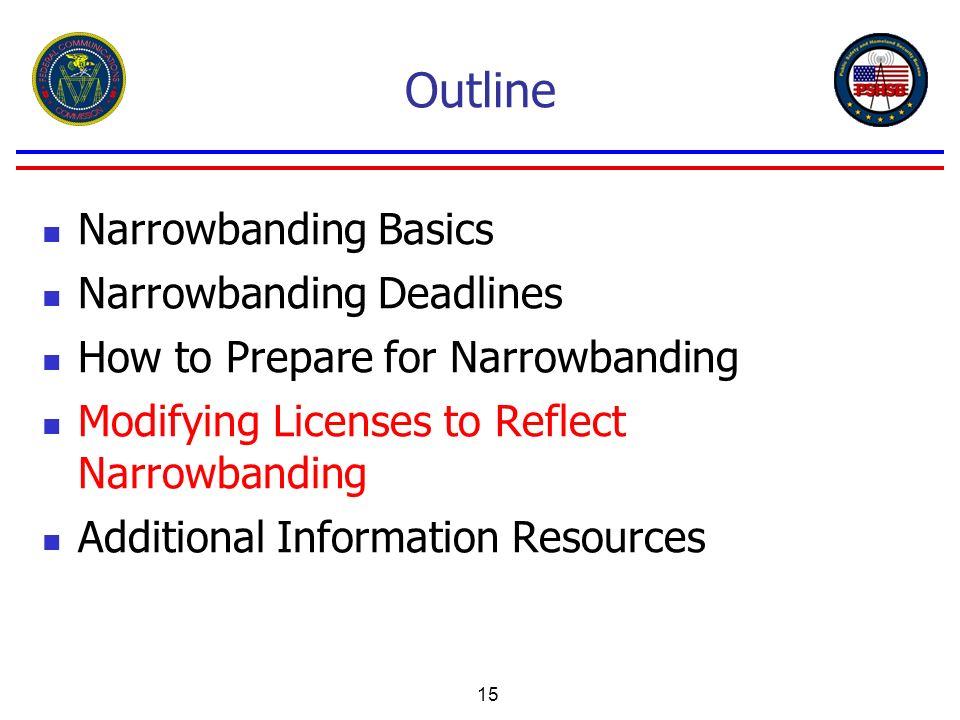 15 Outline Narrowbanding Basics Narrowbanding Deadlines How to Prepare for Narrowbanding Modifying Licenses to Reflect Narrowbanding Additional Inform