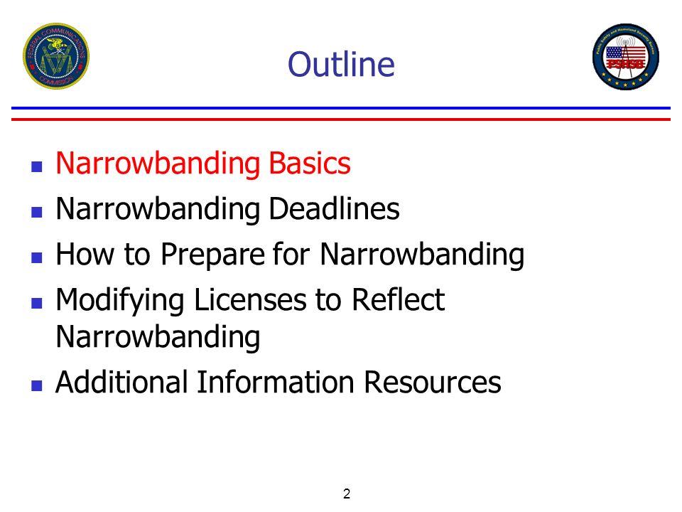 2 Outline Narrowbanding Basics Narrowbanding Deadlines How to Prepare for Narrowbanding Modifying Licenses to Reflect Narrowbanding Additional Informa