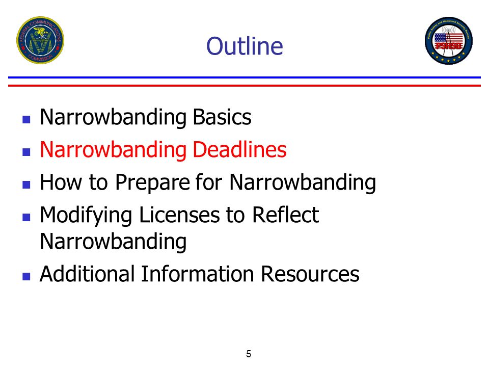 5 Outline Narrowbanding Basics Narrowbanding Deadlines How to Prepare for Narrowbanding Modifying Licenses to Reflect Narrowbanding Additional Informa