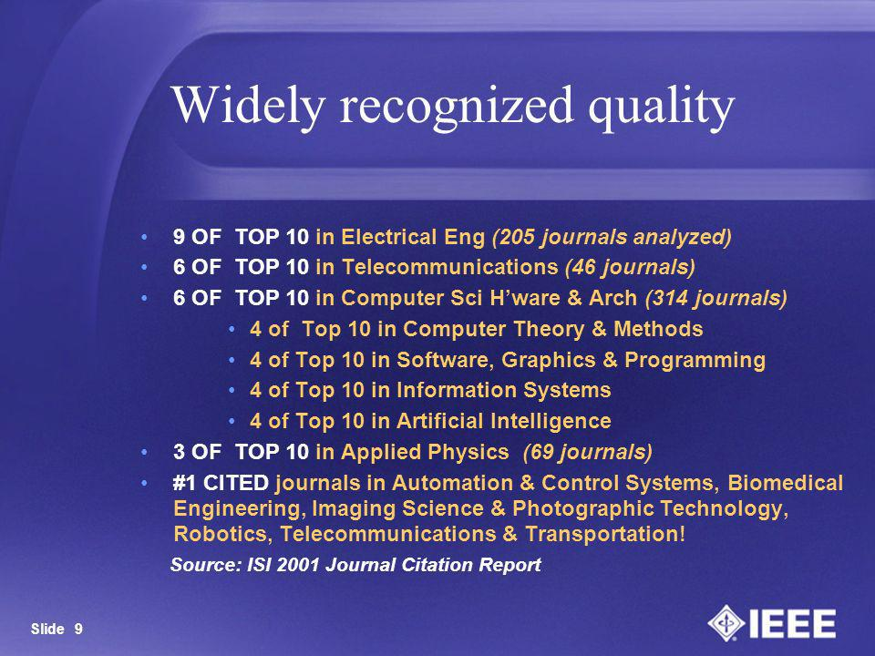 Slide 9 9 OF TOP 10 in Electrical Eng (205 journals analyzed) 6 OF TOP 10 in Telecommunications (46 journals) 6 OF TOP 10 in Computer Sci Hware & Arch