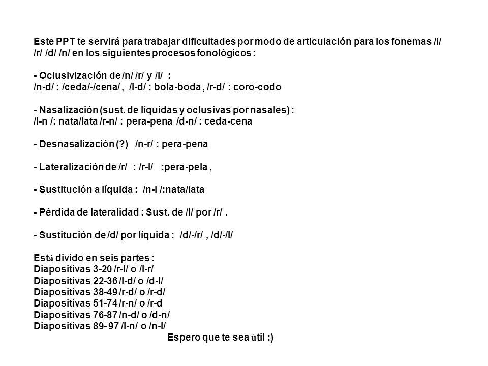 Este PPT te servirá para trabajar dificultades por modo de articulación para los fonemas /l/ /r/ /d/ /n/ en los siguientes procesos fonológicos : - Oc