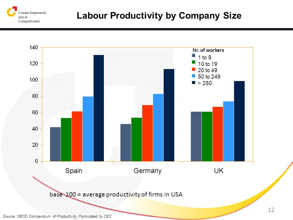 12 Source: OECD Compendium of Productivity. Formulated by CEC Labour Productivity by Company Size base 100 = average productivity of firms in USA Spai