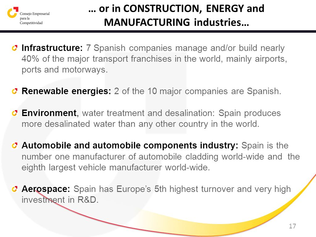 17 … or in CONSTRUCTION, ENERGY and MANUFACTURING industries… Infrastructure: 7 Spanish companies manage and/or build nearly 40% of the major transpor
