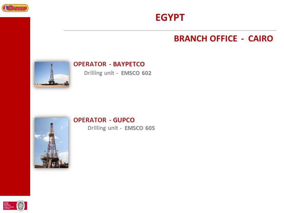 EGYPT BRANCH OFFICE - CAIRO BAYPETCO OPERATOR - BAYPETCO EMSCO 602 Drilling unit - EMSCO 602 GUPCO OPERATOR - GUPCO EMSCO 605 Drilling unit - EMSCO 60