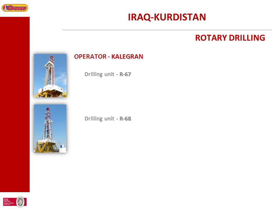 IRAQ-KURDISTAN ROTARY DRILLING KALEGRAN OPERATOR - KALEGRAN R-67 Drilling unit - R-67 R-68 Drilling unit - R-68