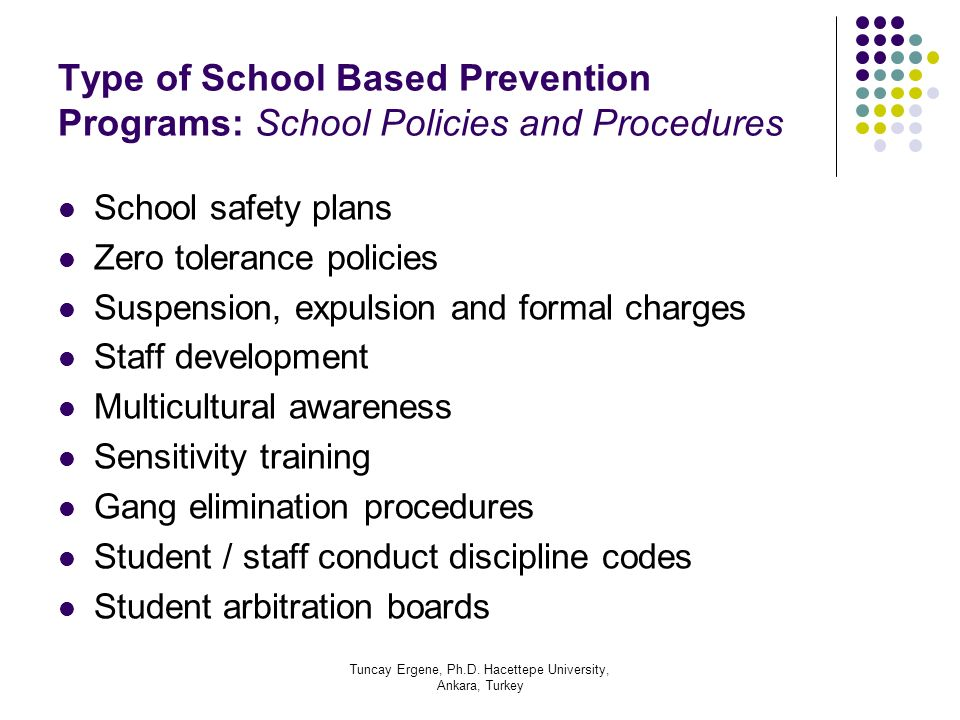 Tuncay Ergene, Ph.D. Hacettepe University, Ankara, Turkey Type of School Based Prevention Programs: School Policies and Procedures School safety plans