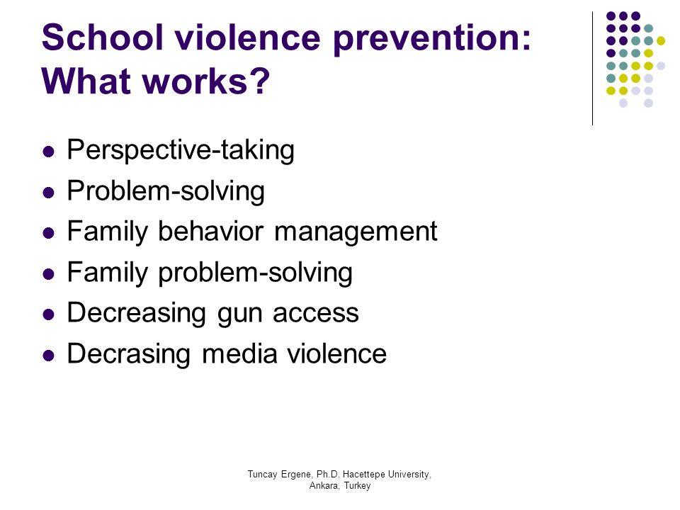 Tuncay Ergene, Ph.D. Hacettepe University, Ankara, Turkey School violence prevention: What works? Perspective-taking Problem-solving Family behavior m
