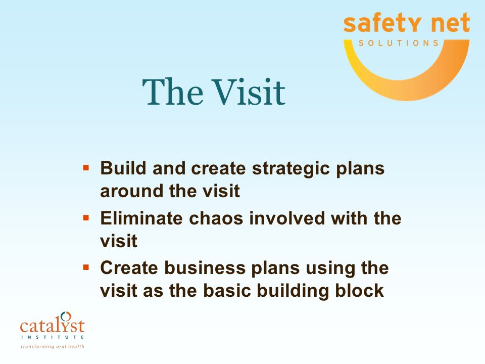 The Visit Build and create strategic plans around the visit Eliminate chaos involved with the visit Create business plans using the visit as the basic