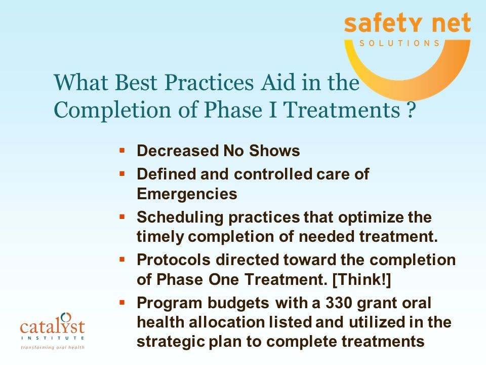 What Best Practices Aid in the Completion of Phase I Treatments ? Decreased No Shows Defined and controlled care of Emergencies Scheduling practices t