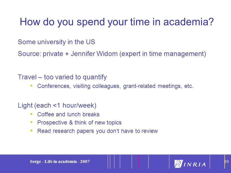 10 Serge - Life in academia - 200710 How do you spend your time in academia? Some university in the US Source: private + Jennifer Widom (expert in tim