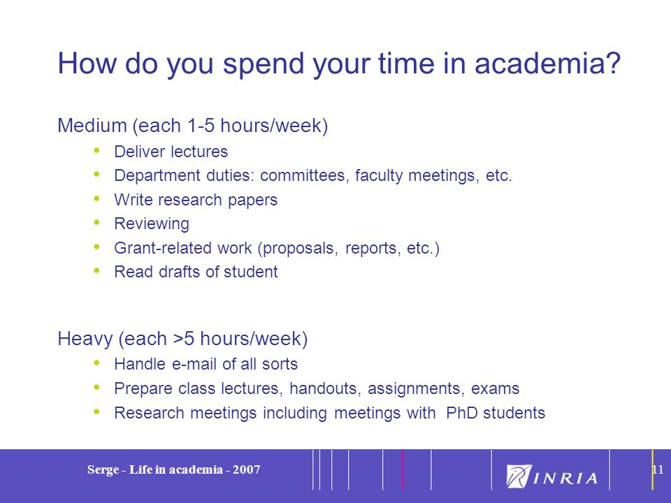 11 Serge - Life in academia - 200711 How do you spend your time in academia? Medium (each 1-5 hours/week) Deliver lectures Department duties: committe