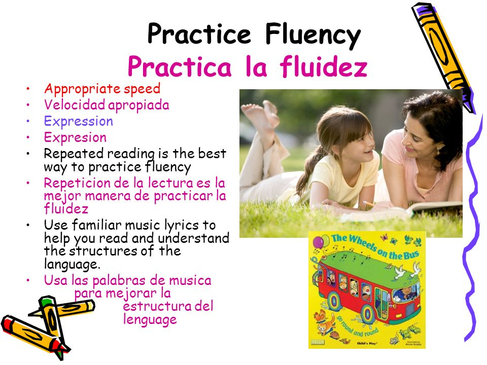 Practice Fluency Practica la fluidez Appropriate speed Velocidad apropiada Expression Expresion Repeated reading is the best way to practice fluency R