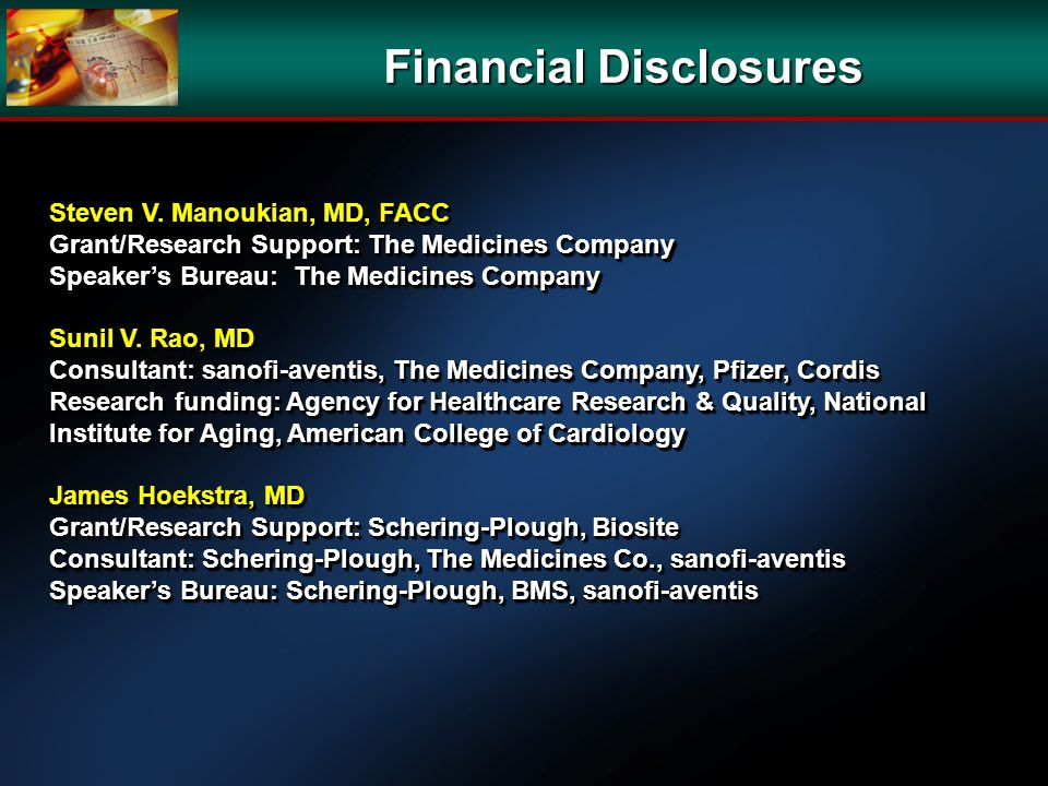 Financial Disclosures Steven V.