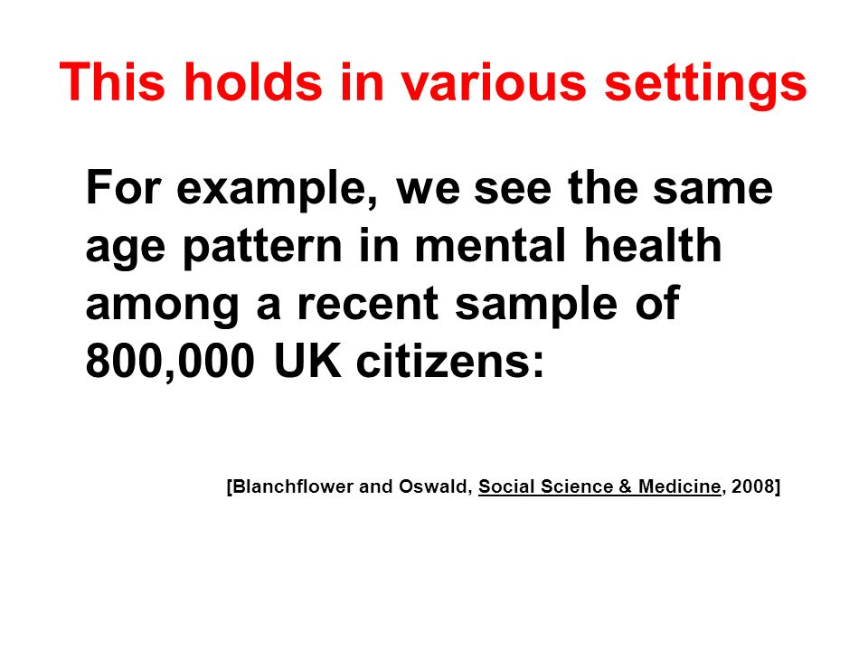 For example, we see the same age pattern in mental health among a recent sample of 800,000 UK citizens: [Blanchflower and Oswald, Social Science & Med