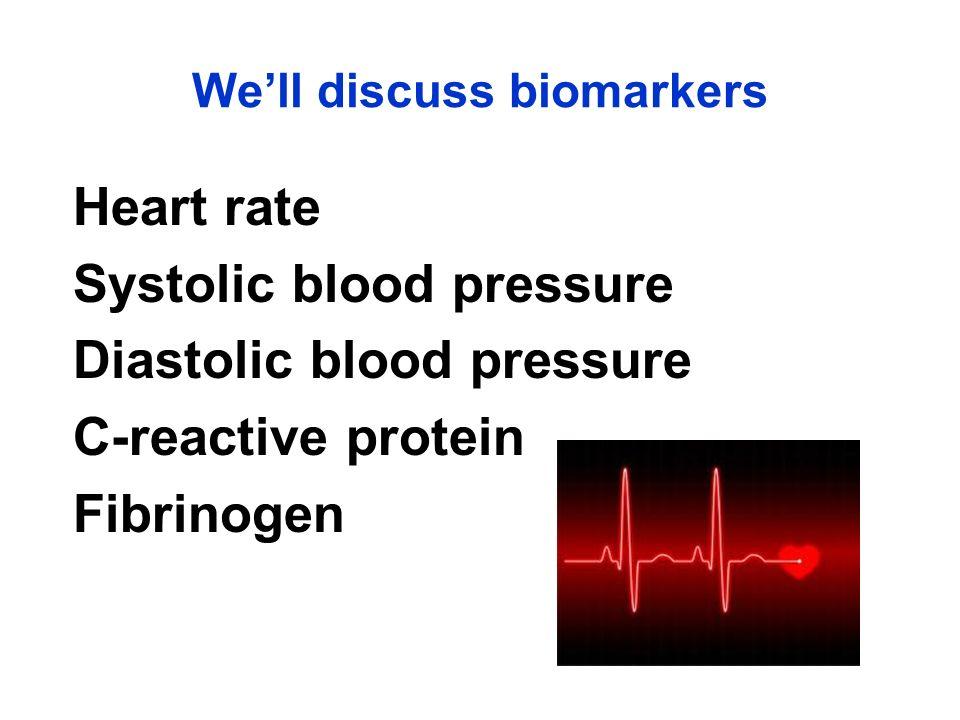 Heart rate Systolic blood pressure Diastolic blood pressure C-reactive protein Fibrinogen