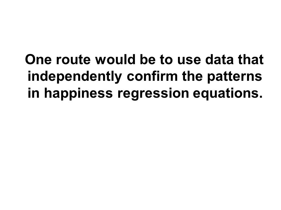 One route would be to use data that independently confirm the patterns in happiness regression equations.