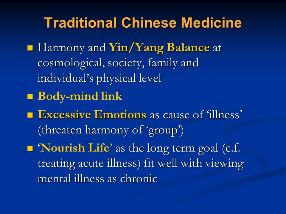 Traditional Chinese Medicine Harmony and Yin/Yang Balance at cosmological, society, family and individuals physical level Harmony and Yin/Yang Balance
