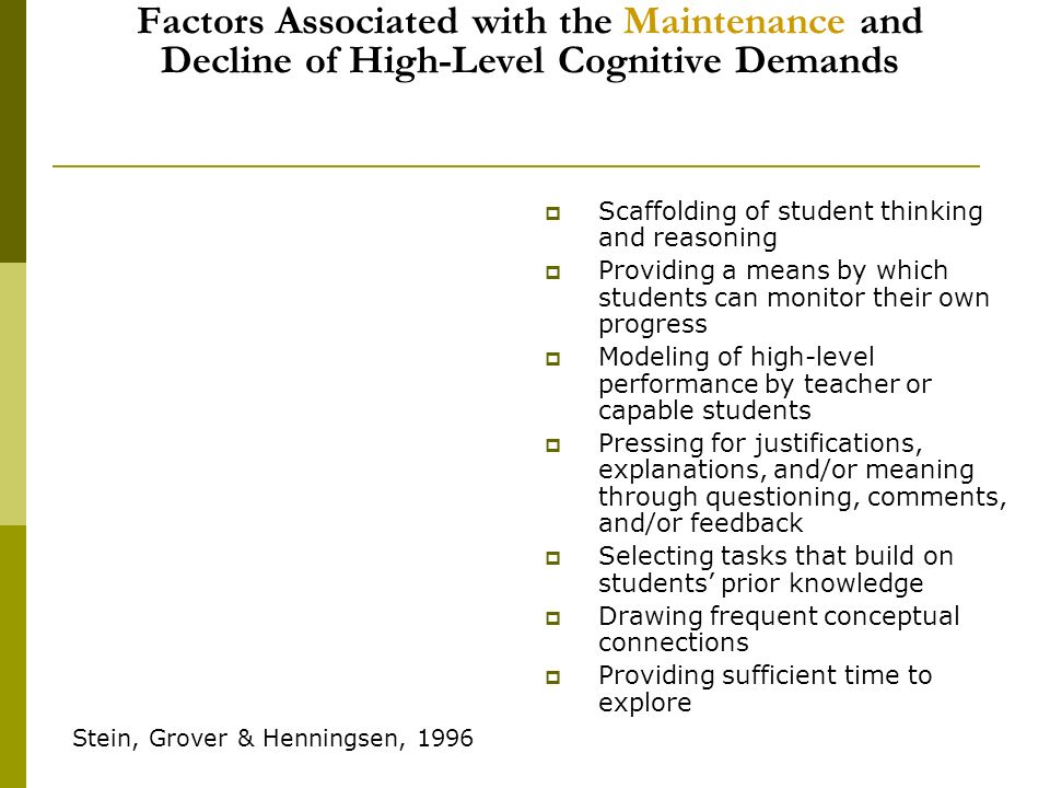 Factors Associated with the Maintenance and Decline of High-Level Cognitive Demands Scaffolding of student thinking and reasoning Providing a means by