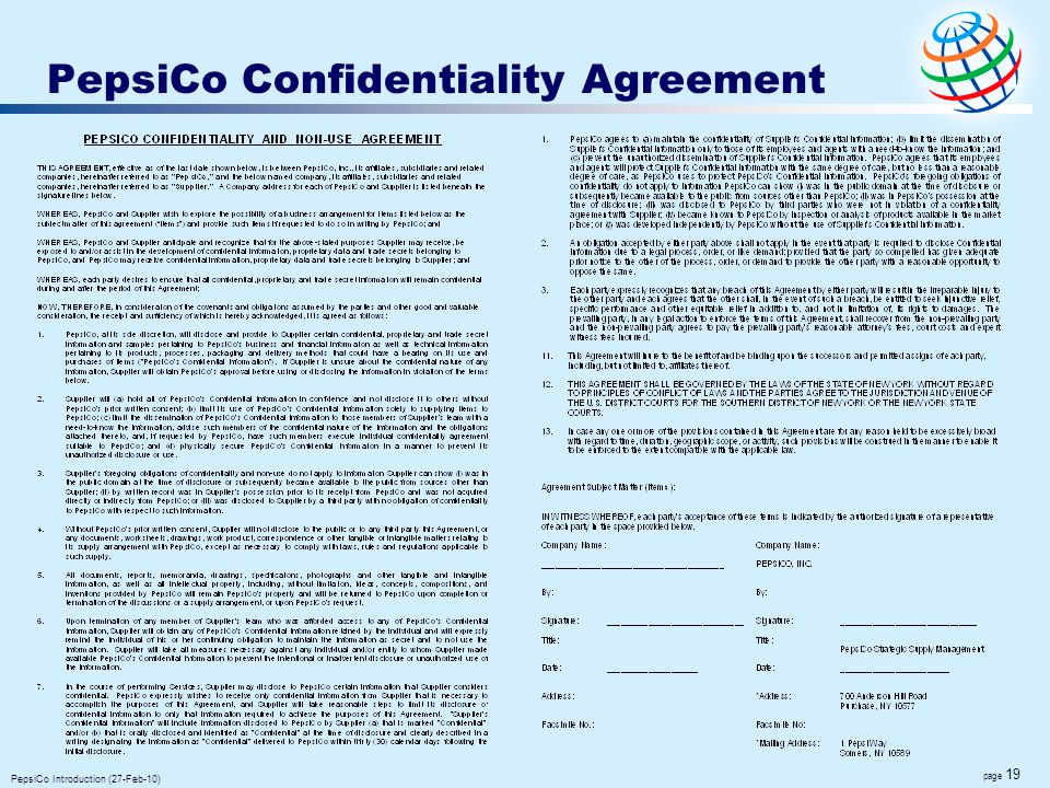 page 19 PepsiCo Introduction (27-Feb-10) PepsiCo Confidentiality Agreement
