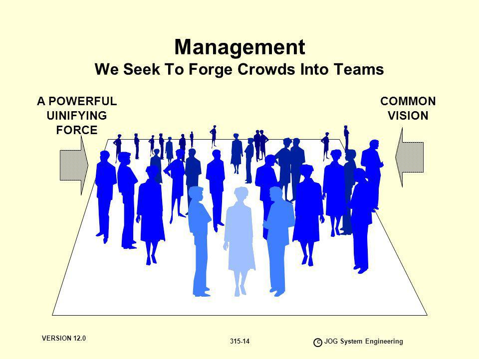 VERSION 12.0 c JOG System Engineering 315-14 Management We Seek To Forge Crowds Into Teams A POWERFUL UINIFYING FORCE COMMON VISION