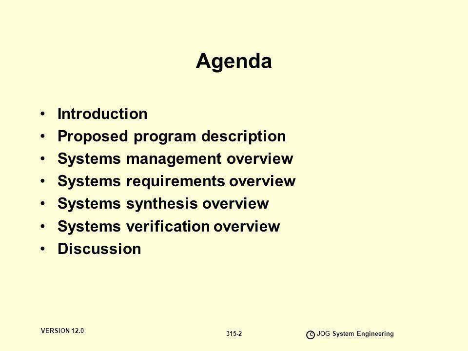 VERSION 12.0 c JOG System Engineering 315-33 Verification Documentation Stream