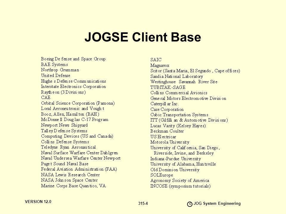 VERSION 12.0 c JOG System Engineering 315-4 JOGSE Client Base