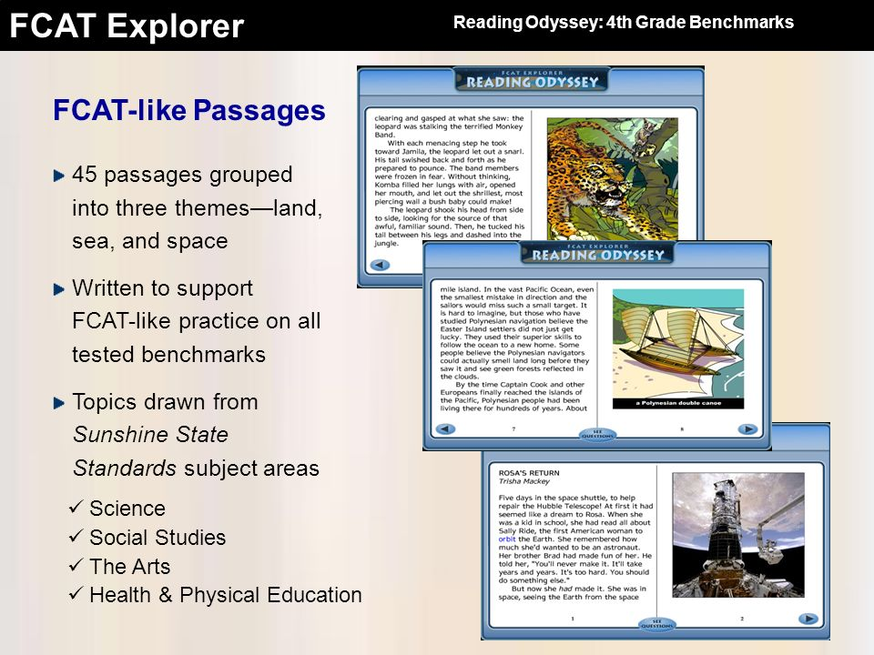 FCAT Explorer FCAT-like Passages 45 passages grouped into three themesland, sea, and space Written to support FCAT-like practice on all tested benchma
