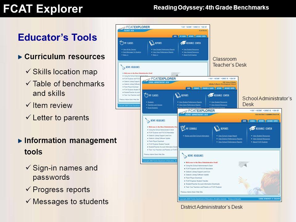 FCAT Explorer Educators Tools Classroom Teachers Desk District Administrators Desk School Administrators Desk Curriculum resources Skills location map