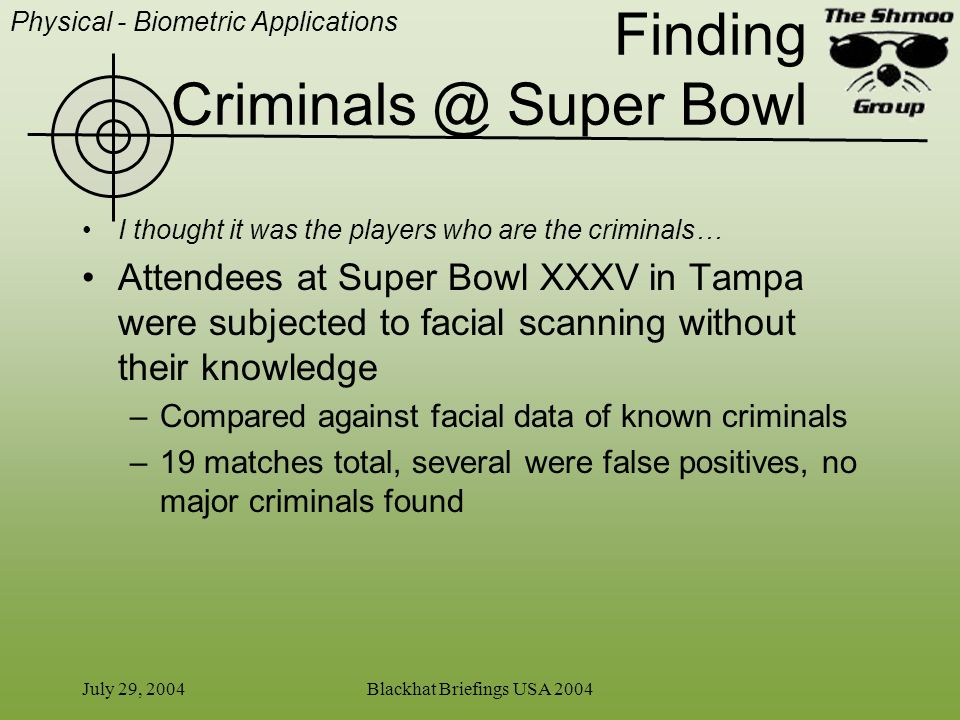 July 29, 2004Blackhat Briefings USA 2004 Finding Criminals @ Super Bowl I thought it was the players who are the criminals… Attendees at Super Bowl XX