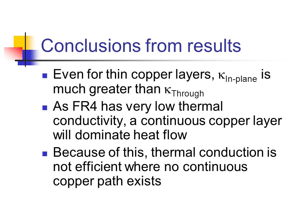 Conclusions from results Even for thin copper layers, In-plane is much greater than Through As FR4 has very low thermal conductivity, a continuous cop