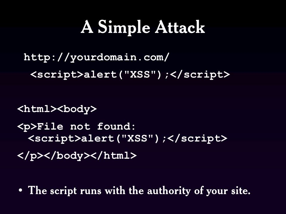 A Simple Attack http://yourdomain.com/ alert( XSS ); File not found: alert( XSS ); The script runs with the authority of your site.