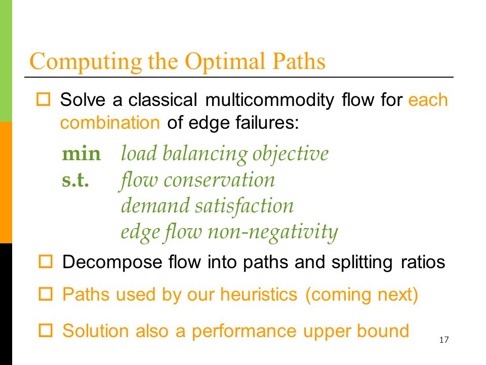 17 Computing the Optimal Paths Solve a classical multicommodity flow for each combination of edge failures: min load balancing objective s.t. flow con