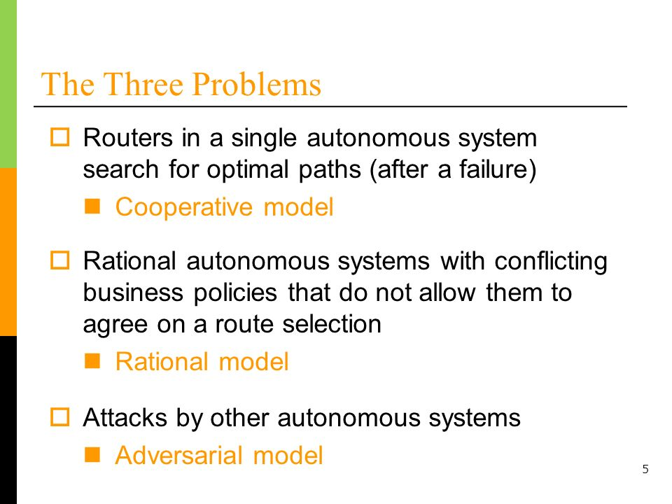 5 The Three Problems Routers in a single autonomous system search for optimal paths (after a failure) Cooperative model Rational autonomous systems wi
