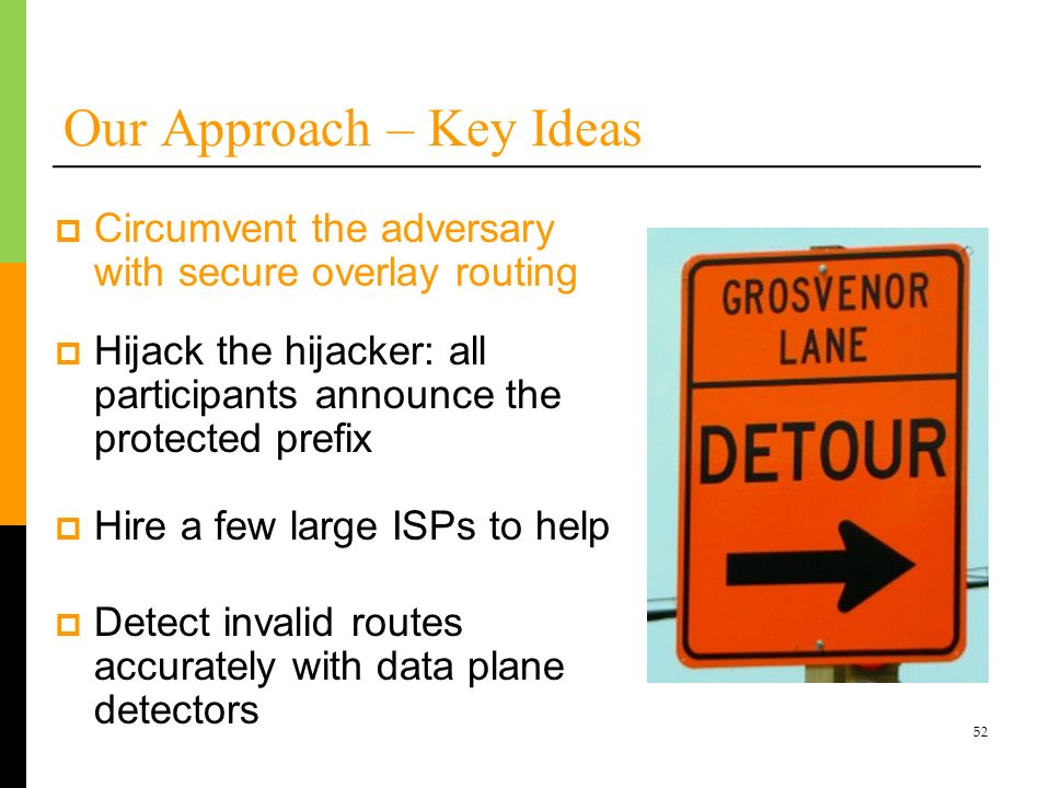 52 Our Approach – Key Ideas Hijack the hijacker: all participants announce the protected prefix Hire a few large ISPs to help Detect invalid routes ac