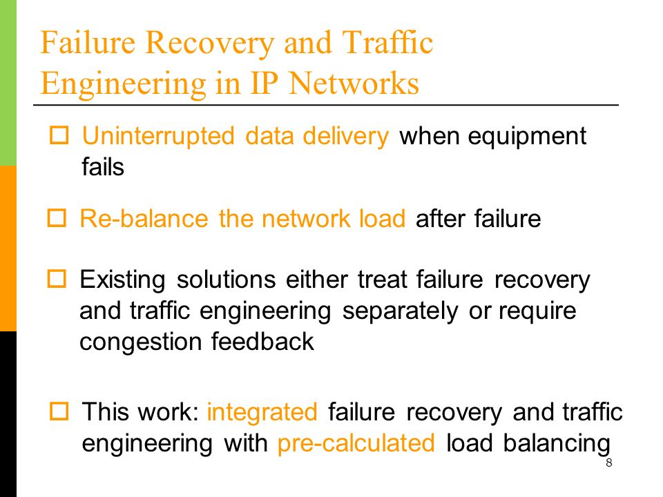 9 Architectural Goals 3.Detect and respond to failures 1.Simplify the network Allow use of minimalist cheap routers Simplify network management 2.Balance the load Before, during, and after each failure