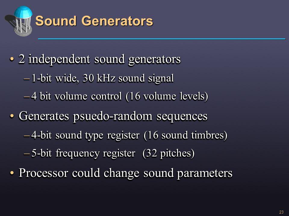 23 Sound Generators 2 independent sound generators2 independent sound generators –1-bit wide, 30 kHz sound signal –4 bit volume control (16 volume lev
