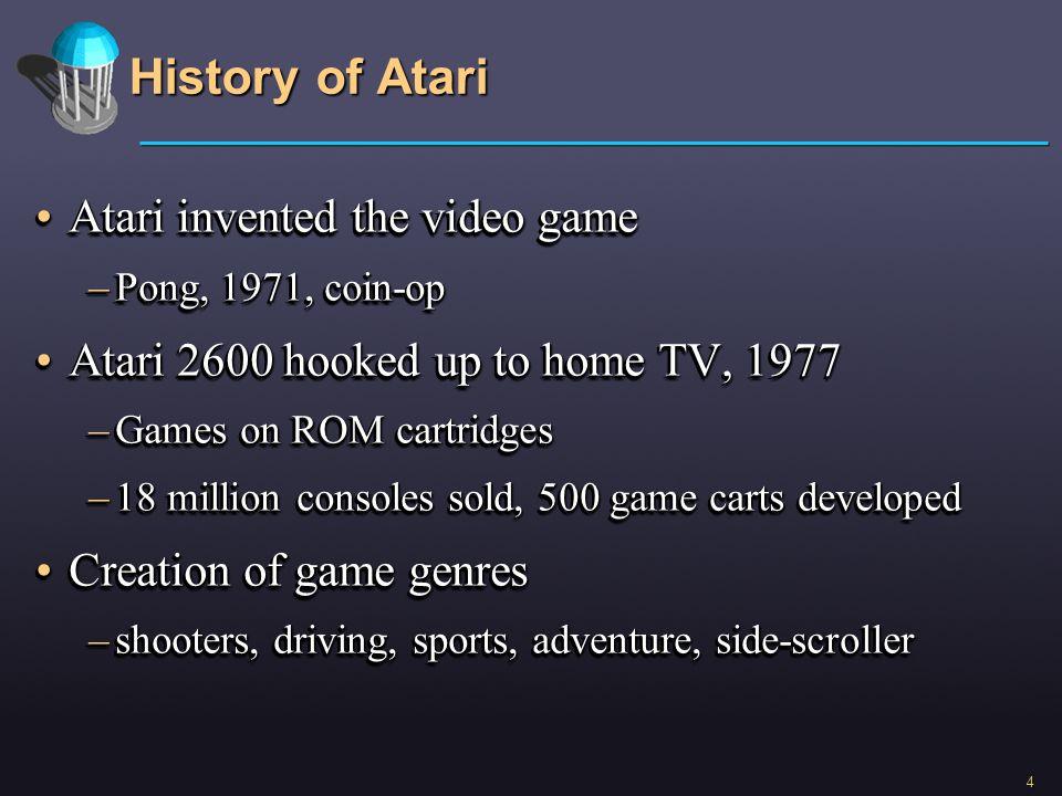 4 History of Atari Atari invented the video gameAtari invented the video game –Pong, 1971, coin-op Atari 2600 hooked up to home TV, 1977Atari 2600 hoo